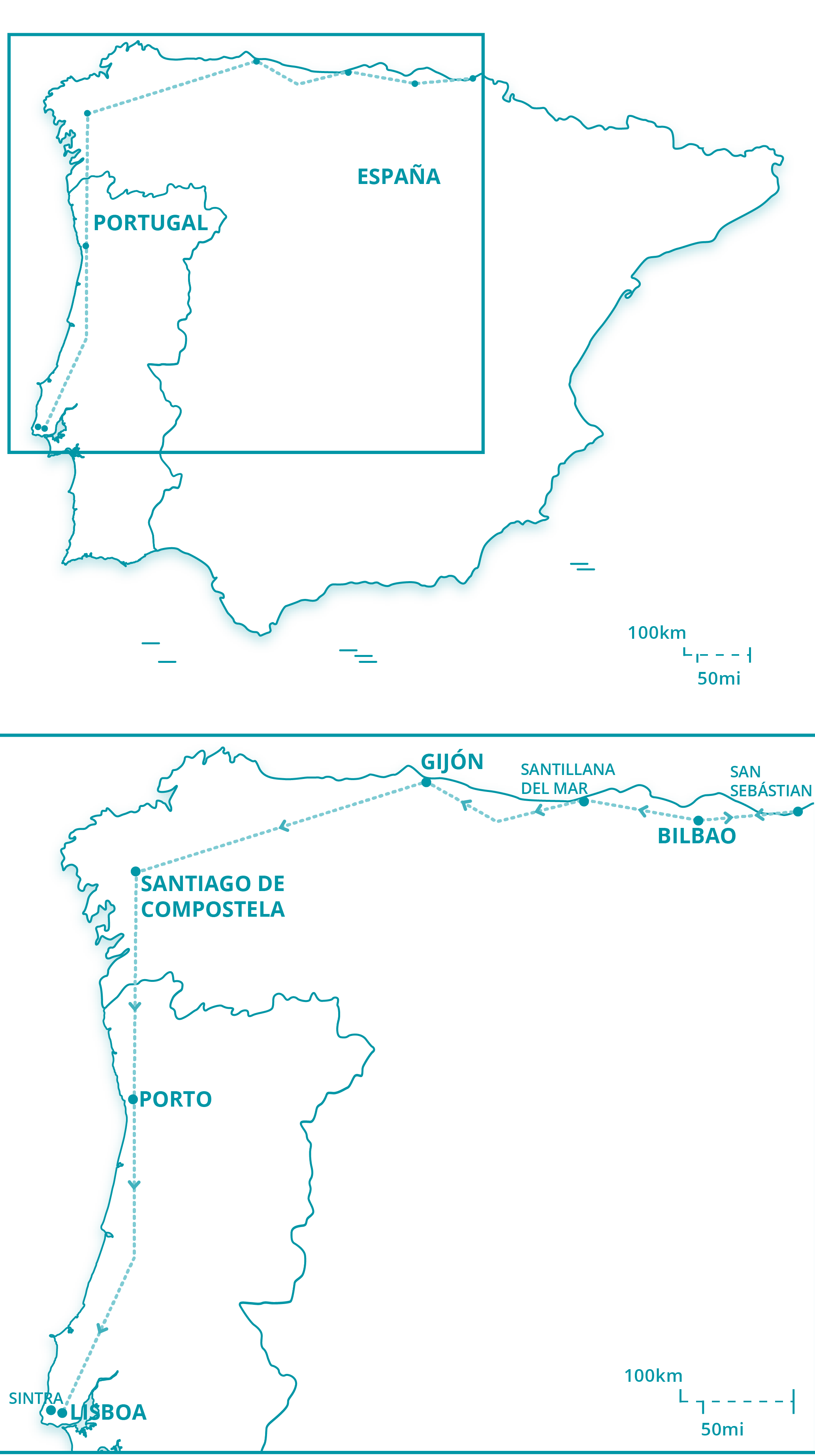 Map Of Northern Portugal And Spain.Northern Spain Portugal Spain Trails